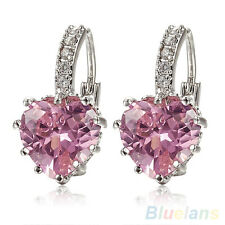 WOMEN'S ELEGANT 18K WHITE GOLD PLATED PINK CRYSTAL HEART LEVERBACK EARRINGS