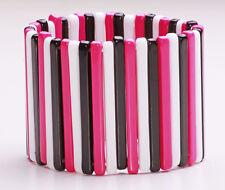 """Moderno bianco / rosa / nero flessibile """"POLSINO"""" Braccialetto in plastica stile casual (zx29)"""