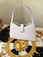 vint. ST. JOHN hand c-b bag:light gray/off white leather w/gold-tone hdwr, Italy