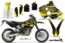 Dirt Bike Graphics Kit Decal Wrap For Husaberg FS/FE 400-650 01-05 CARBONX YLLW