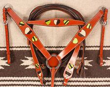 New Green Zebra Hearts Leather Western Horse Tack Bridle Headstall Breast Collar
