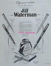 PUBLICITE ENCRE IDEAL WATERMAN JIF EN FLACON SOLDAT DE 1939 FRENCH AD PEN PUB