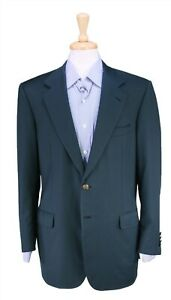 Brioni Emerald Green Wool Metal Logo Button 2-Btn Blazer Jacket 42R