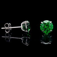 1CT Created Emerald Green Earrings 14K Real White Gold Round Solitaire Studs