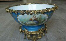 Porcelaine de Sèvres grande coupe  montée sur bronze XIX ème siècle romantique
