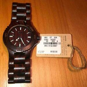 $120 WeWOOD 100% Natural Wood Watch Date Brown NEW IN BOX w/tags SKU 0132 9987