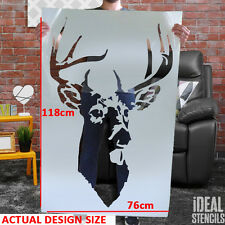 Large Stag Head STENCIL Scottish Highland Home Decor Paint Walls Fabric Painting