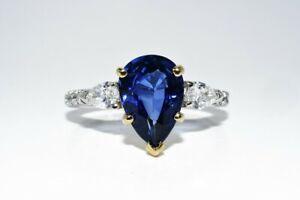 $7,000 4.65CT NATURAL BLUE SAPPHIRE & DIAMOND RING PLATINUM & 18K YELLOW GOLD
