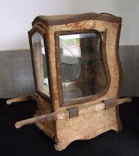 Ancienne chaise porteur boite à bijoux en bois et tissus / Napoléon III / XIXe