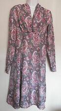 NOA NOA (SMALL / UK10 / EU38) GREY SILK PAISLEY PRINT LONG-SLEEVED DRESS