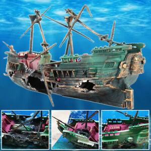 Aquarium Ornament Wreck Boat Sunk Ship Air Split Shipwreck Fish Tank Cave Home !