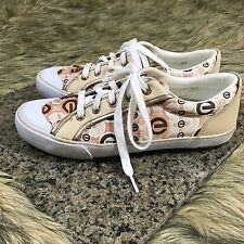 RED Marc Ecko Sz 7.5 Signature Tan Brown White Canvas Leather Comfort Sneakers