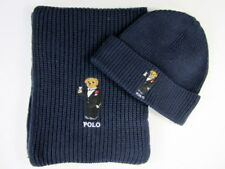 Polo Ralph Lauren Polo Bear Scarf + Polo Bear Hat Navy Blue NWT