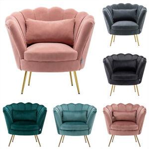 Scallop Wing Back Armchair Lotus Shell Back Tub Chair Single Sofa Lounge Velvet