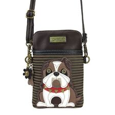 NEW CHALA BULLDOG OLIVE STRIPE CELL PHONE CROSSBODY PURSE ADJUSTABLE STRAP