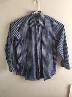 ORVIS Men's Long Sleeve Button Front Shirt L Large Blue Gray Plaid