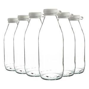 6x Glass Milk Bottles Silicone Lid Large Fridge Storage Carafe Decanter 1 Litre