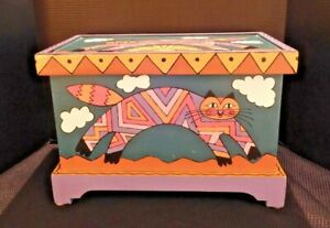 Hand Painted Mountain Light Woodworks Cat Trunk Southwestern Theme Artist signed