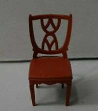 VINTAGE DOLLHOUSE PLASTIC MARX BROWN CHAIR