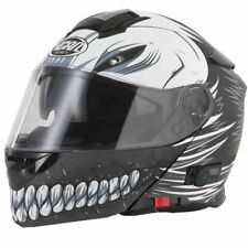 Bluetooth MP3 Flip Up Front Motorbike Motorcycle Helmet Vcan V271 Hollow Black
