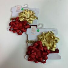 Just One You Carters Baby Girls 2 Pack Red Gold  Head Bands Bow Lot of 2  NEW
