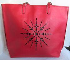Crabtree & and Evelyn Women Purse Bag Handbag Snowflake Solid Red Black Snap