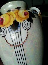 Antique Noritake Japan hand painted porcelain Art Deco vase 8 inches