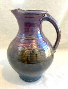 Beautiful Hand Thrown Studio Art Pottery Pitcher, Signed Mike Grafa