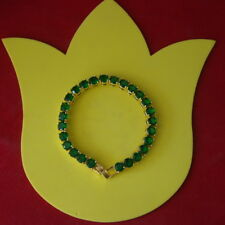 "Beautiful Crome Diapsite 18K Yellow Gold Plated Gp Bracelet 12 Gr. 7""5 Long"