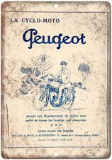 "La Cyclo Moto Peugeot Vintage Bicycle Ad 10"" x 7"" Reproduction Metal Sign B366"