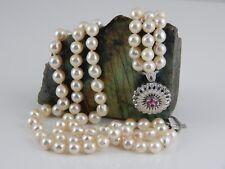 750 Weißgold Perlenkette mit Rubin