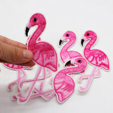2Pcs Flamingo Bird Embroidery Iron on patch sewn For clothing applique Motif New