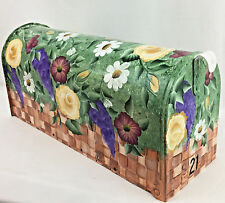 Hand Painted Mailbox SHIPS FREE! Post Mount Decorative Basket of Blooms Flowers