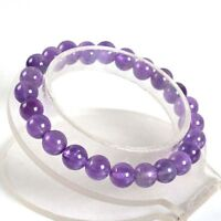 "8mm A grade Amenthyst round gemstone beads stretchable bracelet 7.5"" J32"