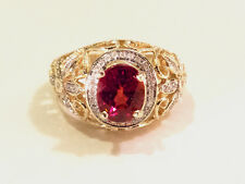 GORGEOUS!! 18K YG Expensive Stone Earth Mined Red Zircon and Diamond Ring