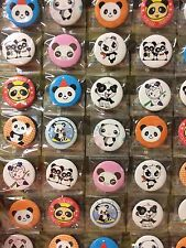 6pcs Panda 30mm Plastic Badge Brooch Pin Birthday Party Lolly Bag Gift