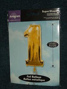 Anagram Super Shape Supershape Foil Balloon Gold Number 1 One (b)