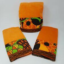 Decorative Retro Towel Set of 3 Orange 1 Lg 24 x 40, 2 sm Hand 23 x 15 Floral