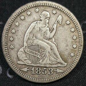 1853 Seated Liberty Quarter VF