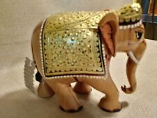 Collectible Decorative Hand Carved, Hand Painted Elephant Figurine Statue