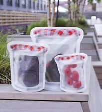 Kikkerland Zipper Bags Jam Jar Reusable Dishwasher Safe BPA Free Standing Set