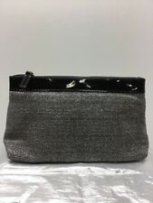 Evening bag Purse. Black and Silver .  zippered clutch .   by Lancome