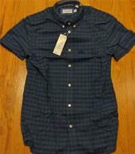 Authentic Lacoste Gingham Cotton/Linen SS Button Up Shirt Marino Blue 38 Small