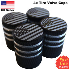 4x Wheel Tire Valve Cap Stem Cover For Bike, Car, Trucks American Flag BLACK