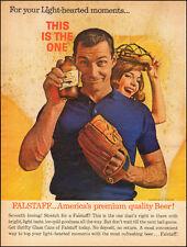 1963-Falstaff Beer-Falstaff Brewing Co`Bottle/Baseball Glove-Vintage Ad