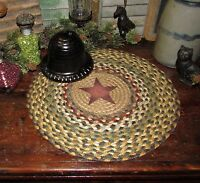 "BARN STAR 100% Natural Braided Jute Swatch, 15"" Trivet Placemat ROUND MAT #S51"