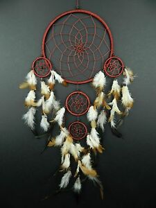 LARGE BROWN DREAM CATCHER 22 x 50cm TRADITIONAL STYLE APACHE INDIAN DREAMCATCHER