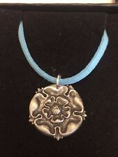 "TUDOR ROSE DR54 Made From Fine English Pewter On a 18"" Blue Cord Necklace"