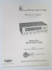 Lafayette LT-425T Solid State AM FM Stereo Tuner Installation Operation Manual