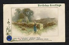 Posted 1910 Illustrated Birthday Card: Church & Girl: Moon of Harvest
